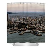 San Francisco City Skyline Panorama At Sunset Aerial Shower Curtain