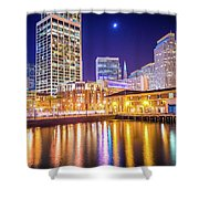 San Francisco Downtown City Skyline At Night Shower Curtain
