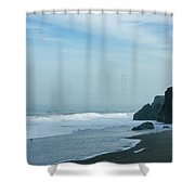 San Francisco Fog - Barely Discernible Golden Gate Bridge From China Beach Shower Curtain