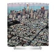 San Francisco Skyline And Coit Tower Shower Curtain