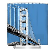 San Francisco Skyline Golden Gate Bridge 2 - Slate Blue Shower Curtain