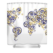 San Francisco State University Colors Swirl Map Of The World Atl Shower Curtain
