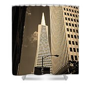 San Francisco - Transamerica Pyramid Sepia Shower Curtain