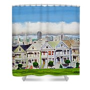 San Francisco's Painted Ladies Shower Curtain by Mike Robles