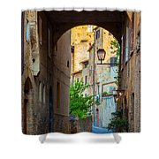 San Gimignano Archway Shower Curtain by Inge Johnsson