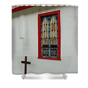 San Iglesia Church Window Shower Curtain