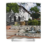 San Luis Mission Fountain Shower Curtain