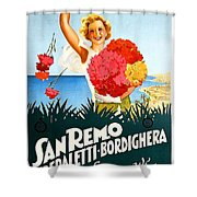San Remo, Italian Riviera, Girl With Flowers Shower Curtain