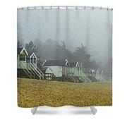 Sand And Huts And Fog Shower Curtain