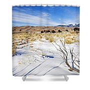 Sand And Snow Shower Curtain by Mike  Dawson