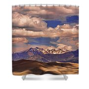 Sand Dunes - Mountains - Snow- Clouds And Shadows Shower Curtain