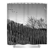 Dune Fences - Grayscale Shower Curtain