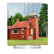 Sand Point Lighthouse - Baraga Shower Curtain