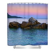 Sand Rocks In The Sea At Sunset Shower Curtain
