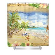 Sand Sea Sunshine On Tropical Beach Shores Shower Curtain