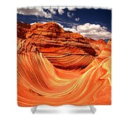 Sandstone Waves And Clouds Shower Curtain