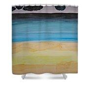 Sandy Beach And Cloudy Sky Shower Curtain