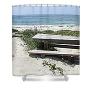 Sandy Picnic Table Shower Curtain