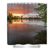 Sandy River Sunset Shower Curtain