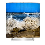 Sandy Surf Splash Shower Curtain