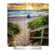 Sandy Walk Down To The Beach Shower Curtain