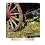 Sanibel Village Wagon Wheels Shower Curtain