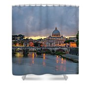 Sant Angelo Bridge At Dusk Shower Curtain