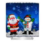 Santa And Frosty Painting Image With Canvased Texture Shower Curtain