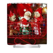 Santa And His Elves Shower Curtain
