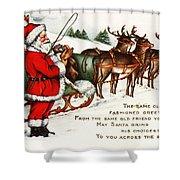 Santa And His Reindeer Greetings Merry Christmas Shower Curtain