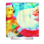 Santa And Pup Shower Curtain