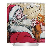 Santa And Teddy Shower Curtain