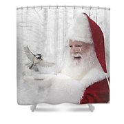 Santa And The Chickadee Shower Curtain