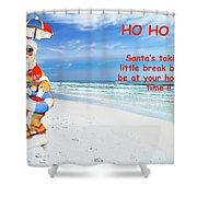 Santa Christmas Greeting Card Shower Curtain