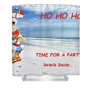 Santa Christmas Party Invitation Shower Curtain