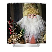Santa Claus Doll In Green Suit With Forest Background. Shower Curtain