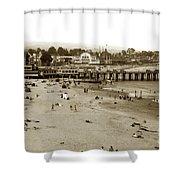 Santa Cruz Beach With Ideal Fish Restaurant 1930's Shower Curtain