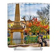 Santa Fe Obelisk A Pigeon And An Accordian Player Shower Curtain