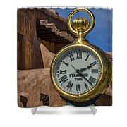 Santa Fe Plaza Clock Shower Curtain