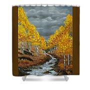 Santa Fe River Aspens Shower Curtain