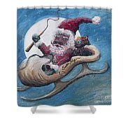 Santa Hog Shower Curtain