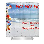 Santa Merry Christmas And Happy New Year Card Shower Curtain