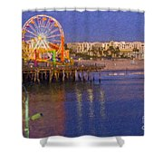 Santa Monica Pacific Park Pier And Lowes Hotel Shower Curtain