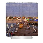 Santa Monica Pacific Park Pier Skyline Panoramic Shower Curtain
