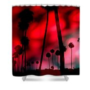 Santa Monica Palms Fiery Red Sunrise Silhouette Shower Curtain