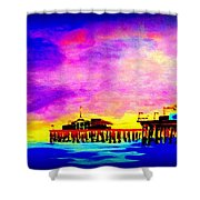 Santa Monica Pier A Night Shower Curtain