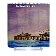 Santa Monica Pier At Night Shower Curtain
