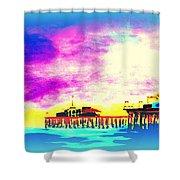 Santa Monica Pier In Blue Shower Curtain