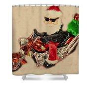 Santa On Motorcycle  Shower Curtain