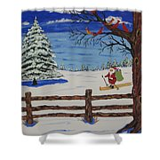 Santa On Skis Shower Curtain
